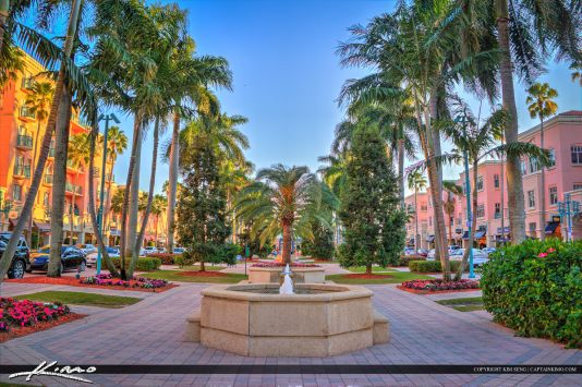 Downtown at the City of Boca Raton by a water fountain at Mizner Park in Palm Beach County, Florida. Three exposure HDR image processed using Photomatix Pro and Topaz.